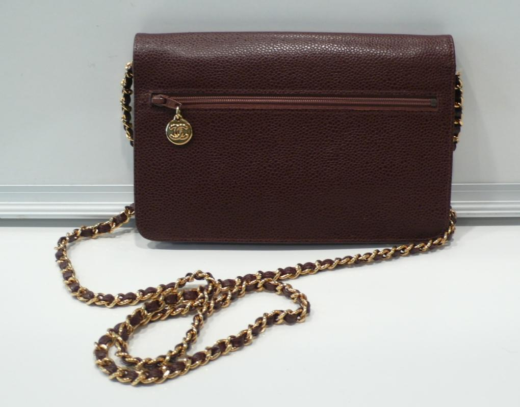 Chane Brown Small Clutch with Gold Chain