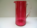 Victorian Cranberry Crackle Glass Pitcher