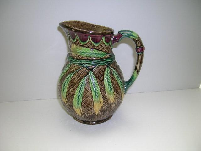 English Majolica Wheat Design Jug