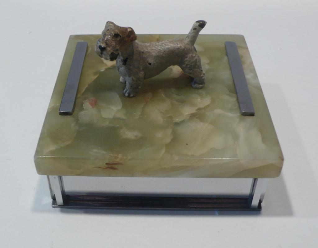 Bronze Dog Atop Marble Box