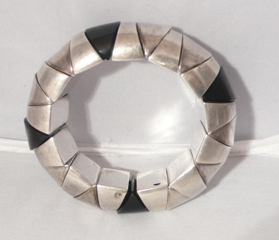 Deco Sterling and Onyx Stretch Bracelet