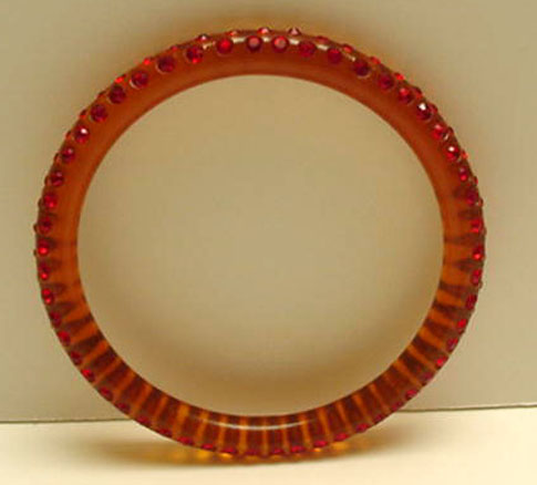 Celluloid Applejuice  Bangle with  red rhinestones