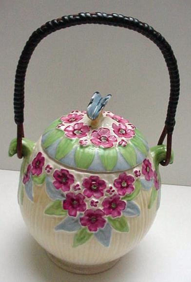 Burleigh Flower and Butterfly Biscuit Barrel