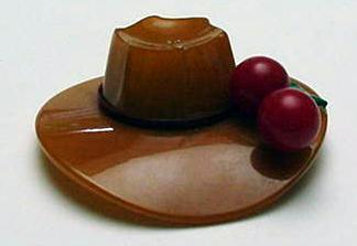Bakelite Butterscotch  Hat with Red Cherries