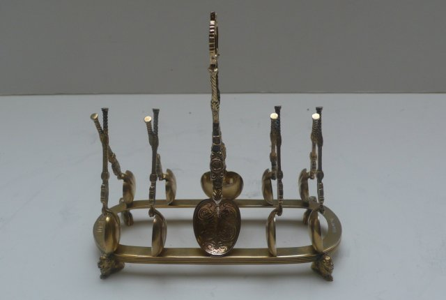Sterling Gilded Coronation Spoon Toast Rack