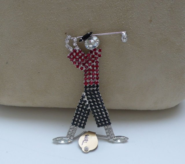 Butler and Wilson Deco Golf Brooch