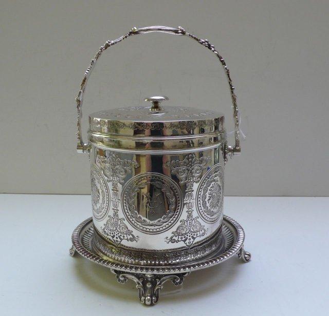 Victorian Silver Plate Round Biscuit Box