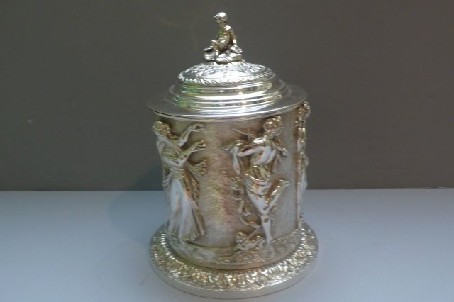 Victorian Silver Plate Round Figural Biscuit Box