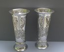 English Silver Plate Large Chased Vases