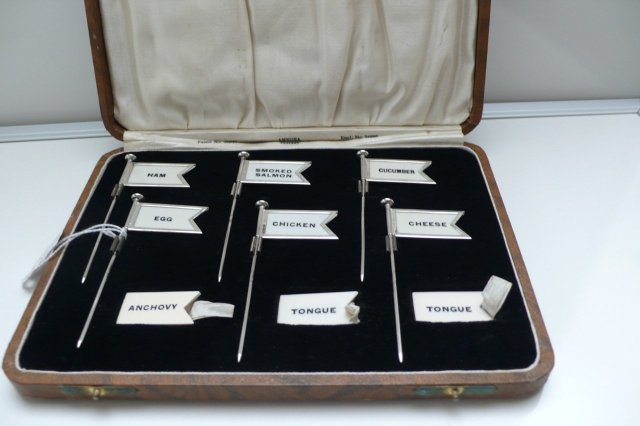 Sterling Silver Hallmarked Boxed Set of Buffet Flags