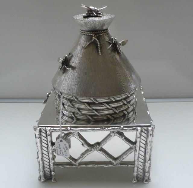 Rare Victorian Beehive Silver Plate Biscuit Box