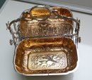 Victorian Folding Silver Plate Biscuit Box