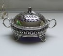 Victorian Silver Plate Round Butter Dish/blue liner