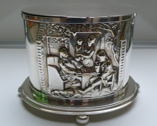 Victorian Silver Plate Oval Biscuit Box