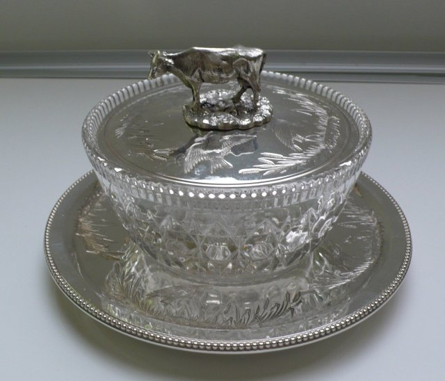 Victorian Silver Plate & Glass Round Covered Dish
