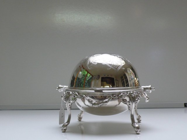 Victorian Silver plate and glass revolving top