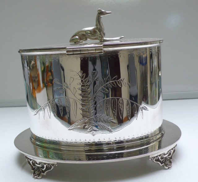 Victorian Silver Plate Oval Biscuit Box with Whippet Handle