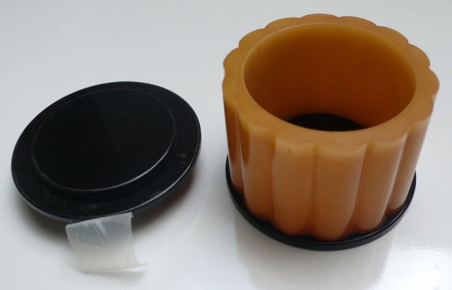 Bakelite Vintage Butterscotch/Black Ribbed Box