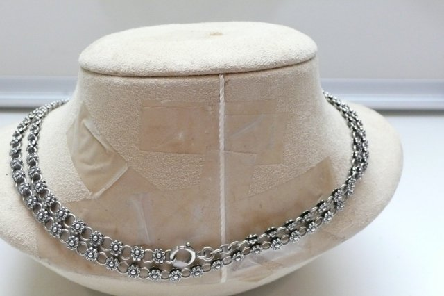 Victorian Sterling Silver Flower Long Chain