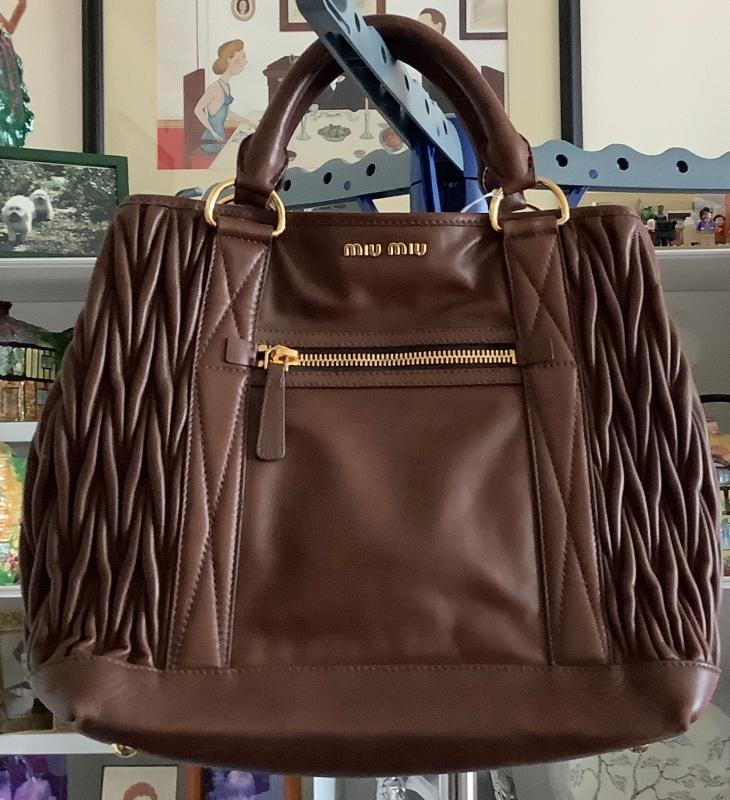 Beautiful Miu Miu Chocolate Tote Handbag
