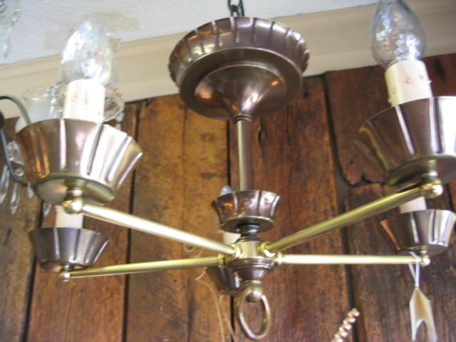 Vintage Hanging Early 1900's Brass 5 Light Chandelier #433