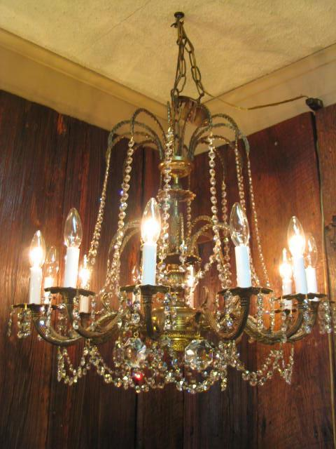Huge 12 Light Crystal/Brass Chandelier