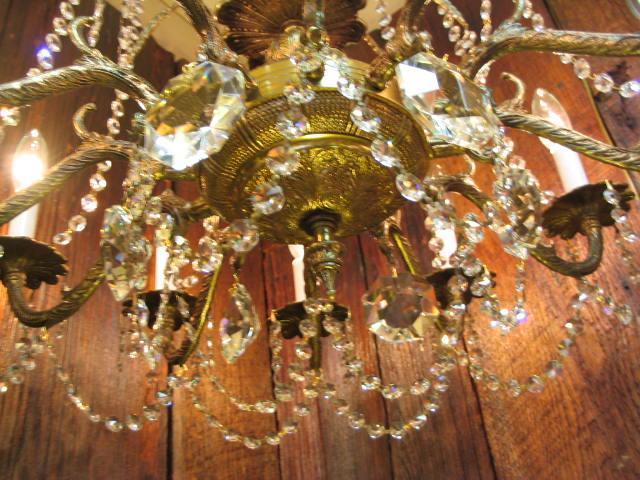 Huge 12 Light Crystal/Brass Chandelier