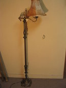 1920's Bridge Arm Floor Lamp w/ Wood Stem