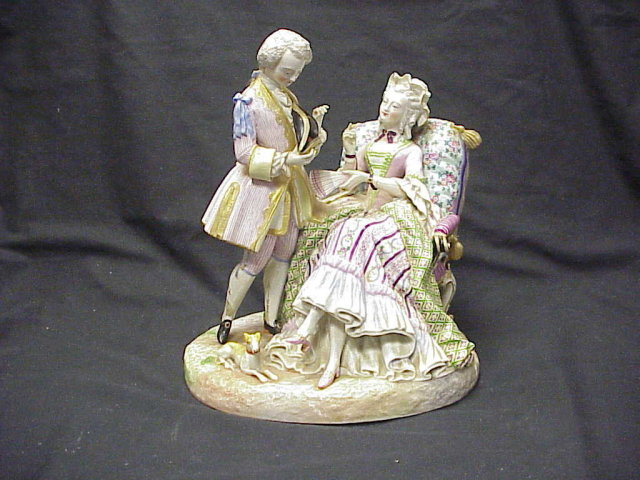 Antique Meissen Porcelain Double Figure Courting Scene Hand Painted 13