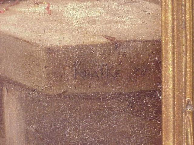 Antique Wood Framed Charles L Kratke OOB Painting Cock Fight 10x14