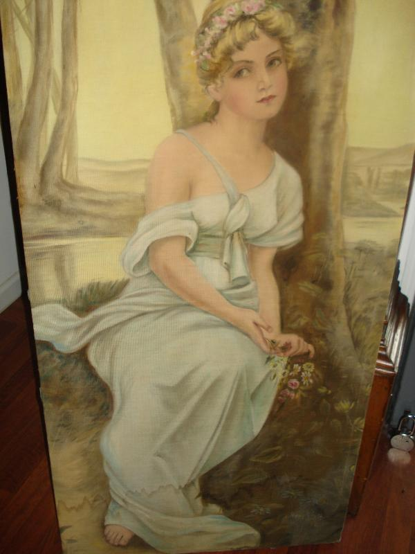 Oil Painting, Early Twentieth Century, Signed Mary Holy, Art Nouveau Style,
