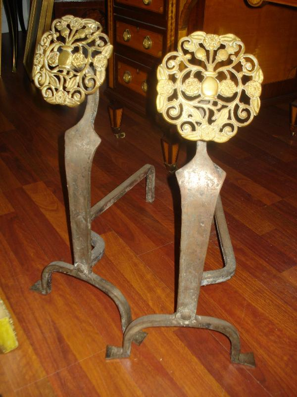 Eighteenth Century American Andirons (Pair), Pierced Bronze and Cast Iron