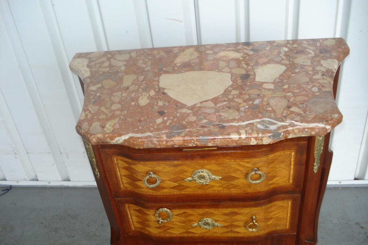 Late Nineteenth Century French Marble Top Two Drawer Marquetry End Table With Label