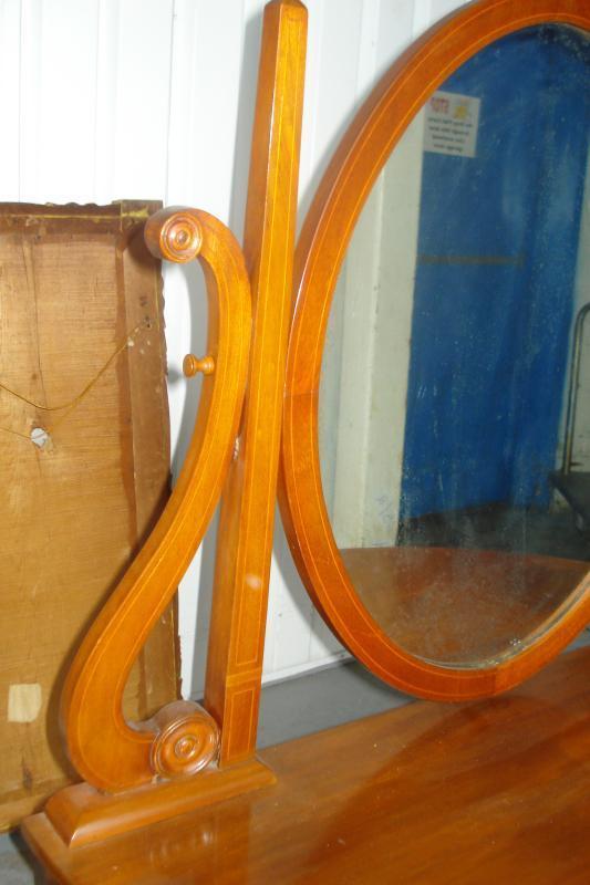 Nineteenth Century Mirrored Ladies Vanity, Mahogany With Inlay Work