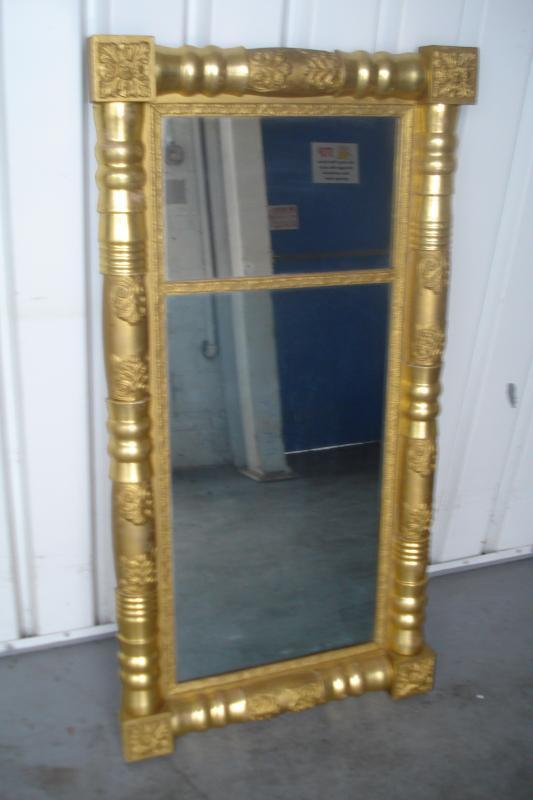 Large Early Nineteenth Century Federal Two Part Gilded Mirror