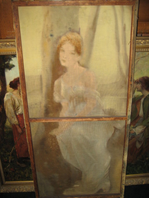 Oil Painting on Linen, Signed, Art Nouveau, of a Young Woman