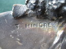 Antique Silver Over Bronze Sculpture of a Pheasant by Hingre