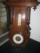 19th Century French Carved Walnut Wall Clock with Barometer and Thermometer