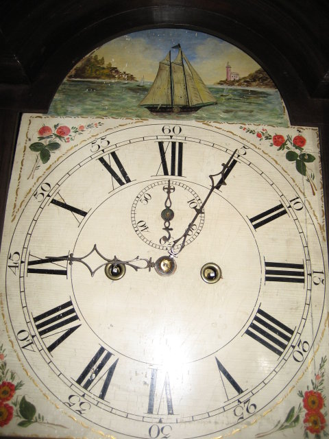 Late Eighteenth to Early Nineteenth Century American Cherry Tallcase Clock [Longcase or Grandfather Clock], Attributed to Calvin or John Bailey, Hanover, Massachussetts with Rocking Ship Dial and Skeletonized Movement