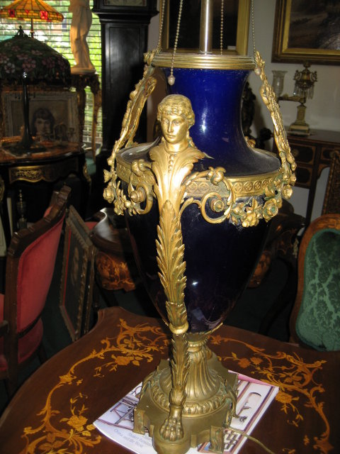 Early Twentieth Century French Cobalt Porcelain and Bronze Lamp of Napoleonic Styling.