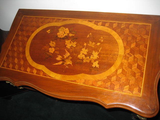 Late Nineteenth Century To Early Twentieth Century Diminutive Sized French Inlaid Gaming Table With Marquetry Work, Ormolu Mounts