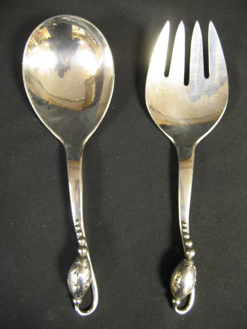 Georg [George] Jensen & Wendelas Blossom Pattern All Sterling Silver Salad Serving Set Circa 1919