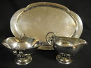 Georg [George] Jensen Sterling Silver Tray with Open Sugar Bowl and Creamer Circa Late Nineteenth to Early Twentieth Century