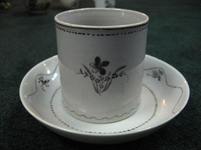 Eighteenth Century Hand Painted (Not Transfer) Chocolate Pot With Matching Cup & Saucer And Five Matching Saucers From The Van de Veer Family.