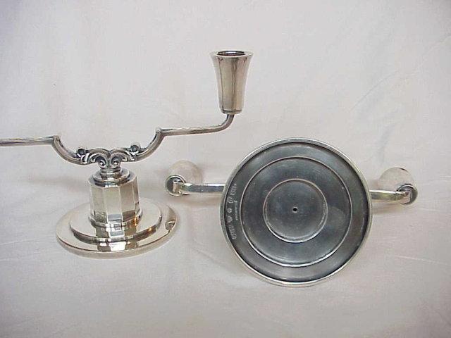Pair Mid Century Modern CG Hallberg Sweden Sterling Silver Candelabras