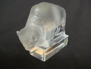 Old Lalique France Clear & Frosted Glass Buffalo Figure / Paperweight
