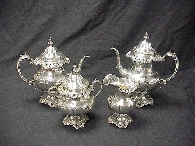 4 piece Wallace Grande Baroque Sterling Silver Tea Set