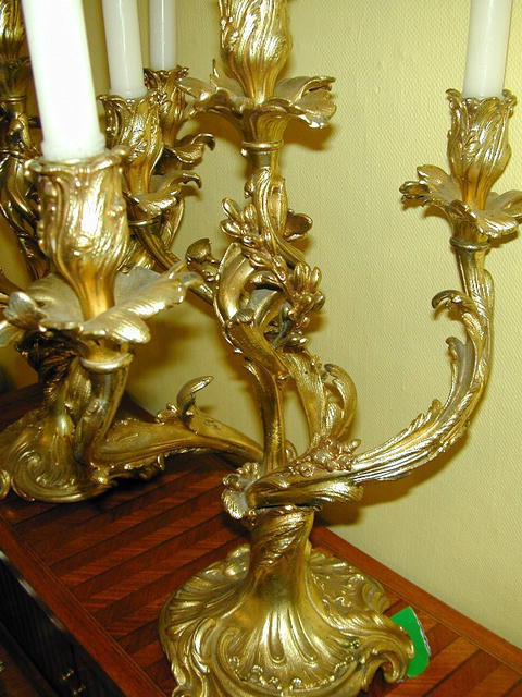 Fine pair of French Gilt Bronze CANDELABRA