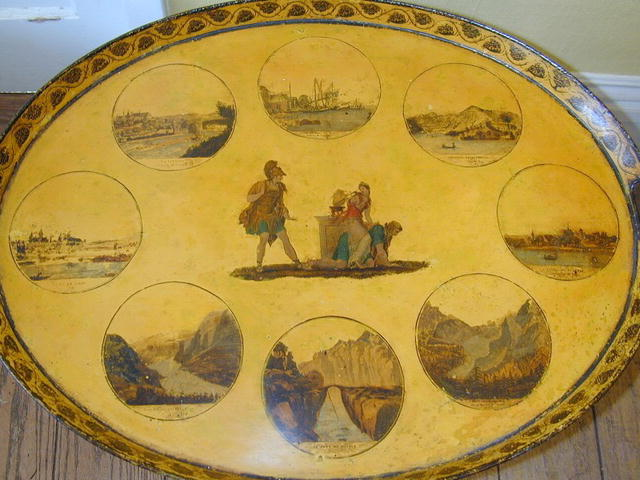 French Charles X  Yellow painted Tole TRAY on