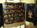 18th. English Japanned/Chinoiserie Cabinet on Later Stand